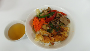 Rice Vermicelli with Spring Rolls & Stir-Fried Lemongrass Beef